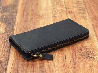 名入れ刻印 財布中を整理整頓。自分で育てる財布。オールレザーで仕上げた L字ファスナー長財布 ブラックの画像