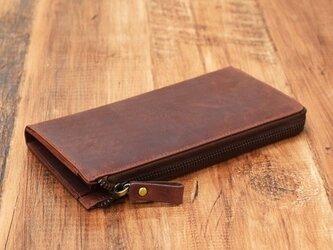 名入れ可 財布中を整理整頓。自分で育てる財布。オールレザーで仕上げた L字ファスナー長財布 ワインの画像