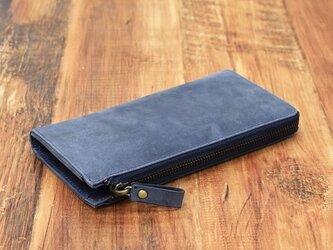 【8月中旬入荷予定】名入れ刻印 財布中を整理整頓。自分で育てる財布。オールレザーで仕上げた L字ファスナー長財布 ネイビーの画像