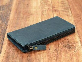名入れ可 財布中を整理整頓。自分で育てる財布。オールレザー L字ファスナー長財布 ダークグリーンの画像