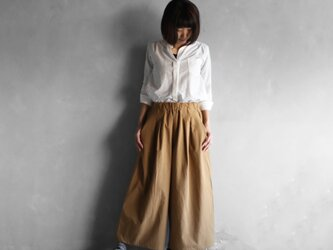やわらかコットンスカートパンツ(ブラウン)【レディス】の画像