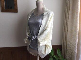 ウール混アラン風ニットの羽織りの画像