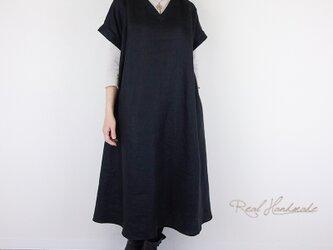 ヨーロッパブラックリネン襟Vタックワンピース**卒園 卒業式 入学式 ブラックフォーマル 冠婚葬祭 ブライダルの画像