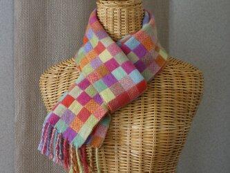 手織りカシミアマフラー・・遊ぶの画像