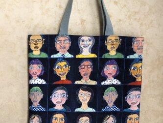 トートバッグ「ドコカノダレカ 紺」の画像