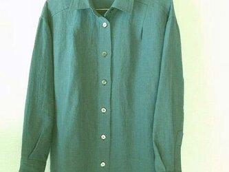上質のベルギーリネンのシャツ・ターコイズブルーの画像