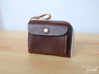 ポッケのついたちいさなお財布 イタリアレザー ダークブラウン の画像