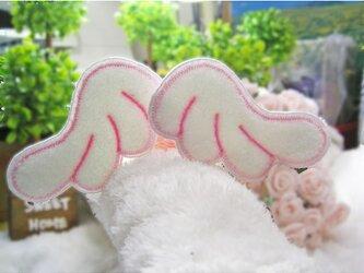 天使の羽根★ふんわりもこもこ★ワッペン★桃糸-2枚セットの画像