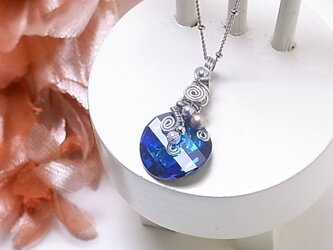 マリンブルー☆ オリエンタル☆  スワロフスキー ワイヤー ネックレス(160221 バミューダブルー)~青い スワロ~の画像