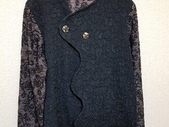 sale    膨れニット ジャケット*    ブラックFlowerの画像