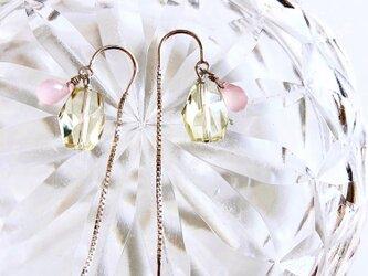 lemon quartz*pink chalcedony*pierceの画像