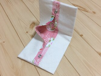 便利に携帯♪ 裏地が和柄のピンク 花紋麻の文様 生成帆布 折りたたみ 携帯ティッシュケースの画像