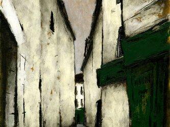 風景画 パリ 油絵「パリの裏通り」の画像