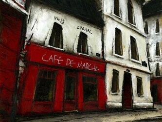 風景画 パリ 油絵「CAFE DE MARCHE」の画像