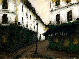 風景画 パリ 油絵「モンマルトルのカフェ」の画像