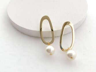 oval circle shell pearl pierces/nohole n530pの画像