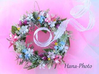 うきうき!ピンクのリボンの春風リース  (リース台:直径15㎝)    (223)の画像