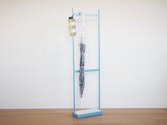 【コンパクトサイズ】umbrella stand(珪藻土),アイアン傘スタンド(ライトブルー)の画像