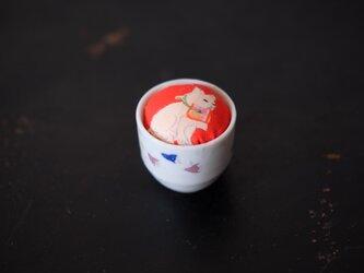 アンティークキモノ針山ー白猫/KIMONO Pincushionの画像