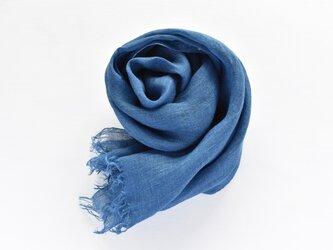 藍染めストール|春夏用リネンガーゼのストール《インディゴブルー》の画像