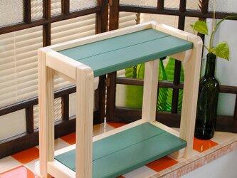 【オーダー商品】☆あると便利な2段テーブルラック♪ターナーミルクペイントカラーオーダーの画像