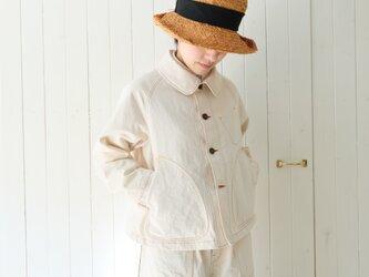 12オンスデニム 丸衿ジャケット 生成の画像
