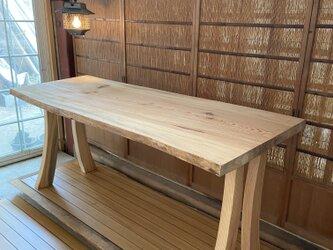 ☆日本松1枚板ダイニングテーブル R脚素敵☆の画像