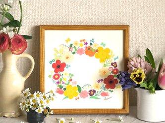 「春のリース(イエロー)」20cm角ポスターの画像