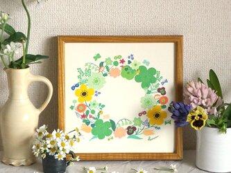 「春のリース(グリーン)」20cm角ポスターの画像