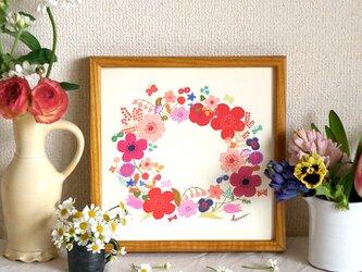 「春のリース(ピンク)」20cm角ポスターの画像