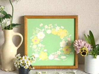 「春のリース(ドラジェ*ミント)」20cm角ポスターの画像