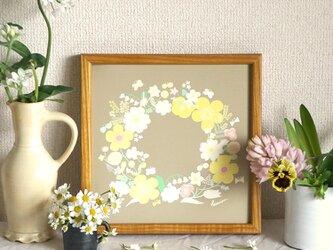 「春のリース(ドラジェ*ベージュ)」20cm角ポスターの画像
