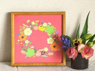 「春のリース(珊瑚色)」20cm角ポスターの画像