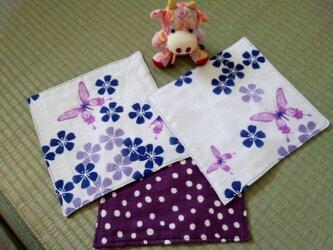 ガーゼハンカチ☆蝶と花☆3枚セットの画像