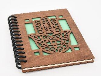木のノートブックK ハムサ(木製ルーズリーフ)の画像