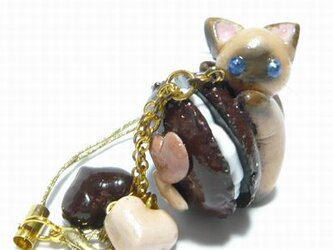 にゃんこのしっぽ○チョコマカロンのストラップ〇シャム猫の画像