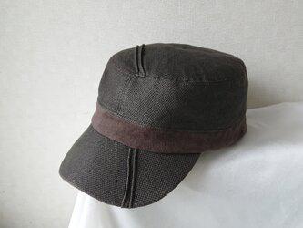魅せる帽子☆ピンタックが素敵♪コットンとスエードのワークキャップ~ブラウンの画像