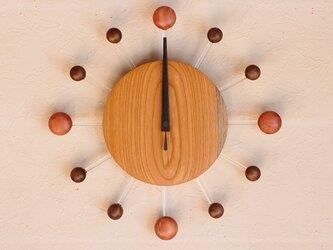 無垢の木の電波掛け時計 けやき 0071の画像