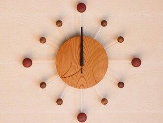 無垢の木の電波掛け時計 けやき 0073の画像