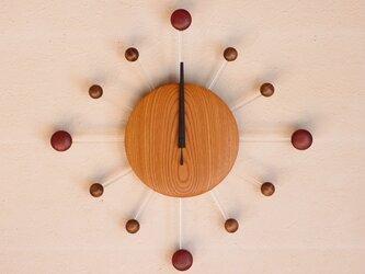 無垢の木の電波掛け時計 けやき 0074の画像