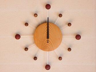 無垢の木の電波掛け時計 けやき 0075の画像