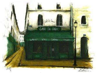 風景画 パリ 版画「街角の緑のひさしのあるレストラン」の画像