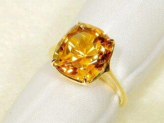 4.74ctシトリンとSV925の指輪(リングサイズ:10号、K18YGの厚メッキ、11月の誕生石、明るいオレンジ色)の画像