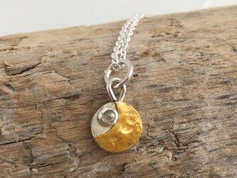 純金の三日月+ダイアモンドの星ペンダント◇K24 Pure Gold +Silver Pendantの画像