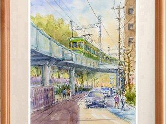 水彩画原画 高架線の江ノ電・藤沢駅出発 #412の画像