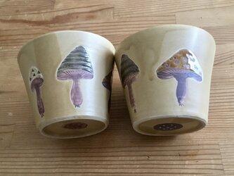 T様専用 きのこ模様のカップの2個セットの画像