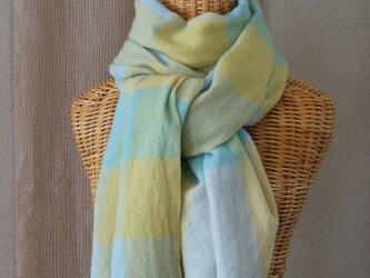 手織りカシミアストール・・水色×黄色の画像