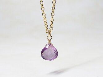 【2月誕生石】上品なアメジスト(マロンプレミアムカット)のネックレスの画像