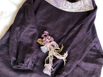 ロールカラーのバルーン袖ワンピース☆パープルの画像