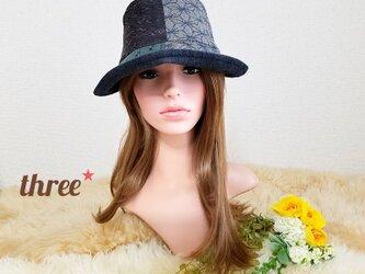 ★組み合わせ 着物地  つば広 コンパクト 帽子*の画像